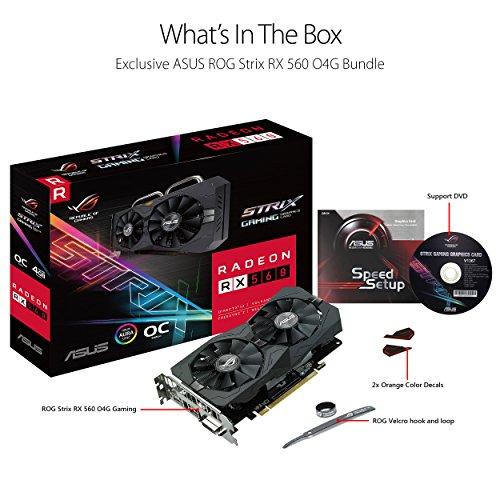 ASUS Carte Graphique ROG-STRIX-RX560-O4G-GAMING (OC Édition, AMD Radeon RX 560, 4Go Mémoire GDDR5) 10