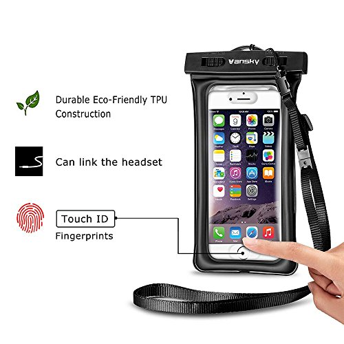 lowest price a2595 aa19e [2017 Upgraded Design] Vansky® Floatable Waterproof Case Dry Bag with  Armband and Audio Jack for iPhone 7, 7Plus, 6, 6s plus, Andriod; Mobile  Phone ...