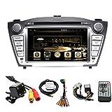 tltek 17,8cm HD 1024* 600écran muti-touch Système navigation GPS pour voiture pour Hyundai Tucson 2010–2015Android Lecteur DVD + Caméra + Carte Europe