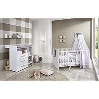 Babyzimmer / Babymöbel Komplett Set KIM 5 In Weiß, Komplettset Mit  Babybett, Lattenrost,