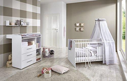 Babyzimmer / Kinderzimmer komplett Set KIM 5 in Weiß, Komplettset mit Babybett, Lattenrost, Wickelkommode mit Wickelaufsatz und Wandregal, Made in Germany