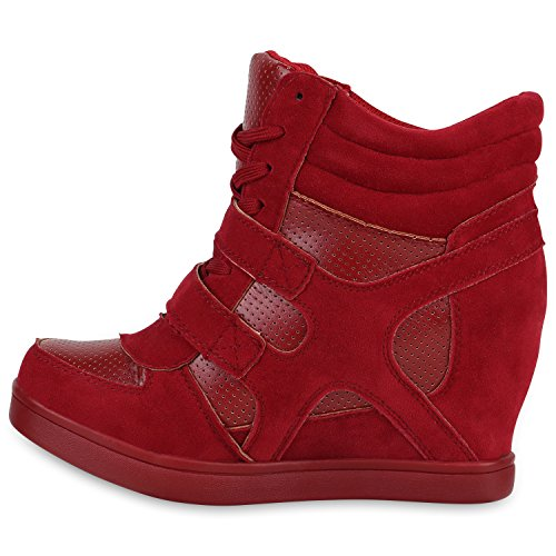 Stiefelparadies , chaussures compensées femme Rouge
