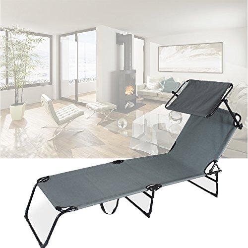 HG® Strandliege Comfort Sonnenliege Atmungsaktiv Verstellbar mit Sonnenschutz Liege 6.9Kg Grau