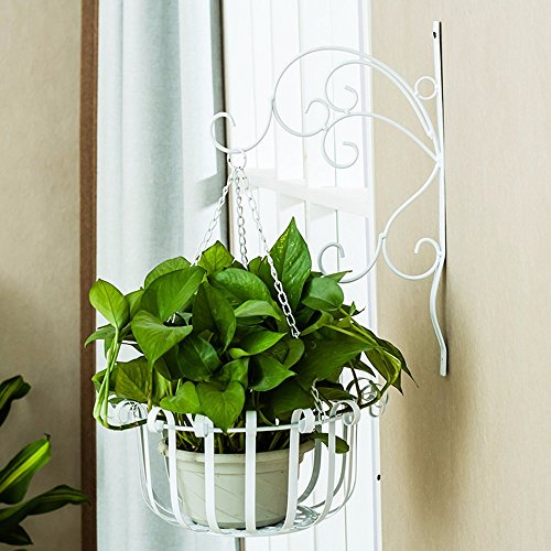 Pinkdose® China, White 2Pcs: Creative Iron Wave Flower Stand Balcony Wall Hanging Basket Flower Pot Holder for Wall Flower Pot House Decorative Stora