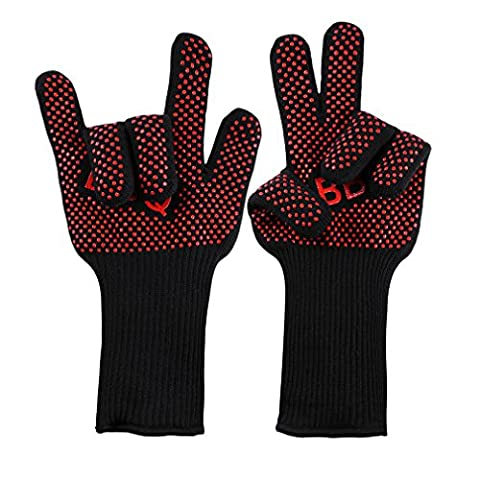 LESHP BBQ Gloves Grilling Cooking Glove 932°F Extreme Heat Resistant Forearm Protection Long Cuff Silicone Grip Baking and Oven Mitts Fire Place Camping Gloves
