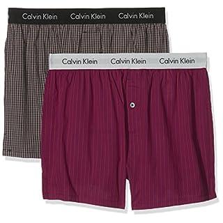 Calvin Klein Herren Hüft-Shorts 2p Slim Fit Boxer, Rot (Demi Check Black/Aberdeen Stripe Dylan ABN), Large
