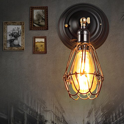 Vinteen Industrielle Weinlese-Retro- rustikale Vogelkäfig-Wand-Leuchten LOFT-Stangen-Wand-Scheinwerfer-Lampen-Befestigung Edison-Eingang Eisen-Kunst-Wand-Lampen-Persönlichkeits-Kreativitäts-Restaurant-Schlafzimmer-Nachttisch-Wand-Leuchter