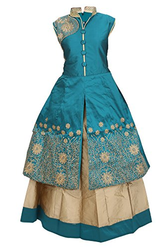 JBN Creation Girls Green Cotton Silk Lehenga (Size: 4-5 Years)