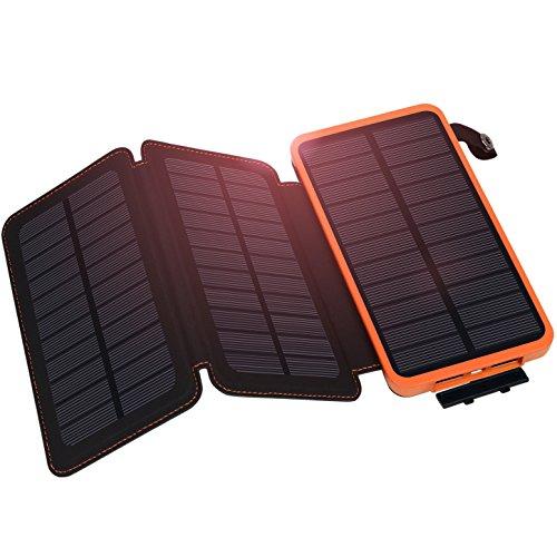 Hiluckey Solar Ladegerät 10000mAh Tragbare Power Bank Outdoor 3 solarzelle 2-output faltbar wasserdicht Externe Akku mit LED Taschenlampe für Samsung Galaxy,iPhone,iPad,Andriod Smartphones,usw.