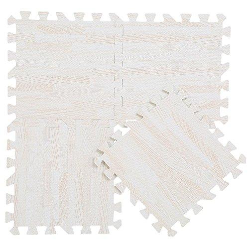 Puzzlematte esterillas de espuma esteras del rompecabezas tapetes para proteger a los niños juegan rompecabezas alfombra del piso estera de yoga fitness 9pcs (madera blanca)