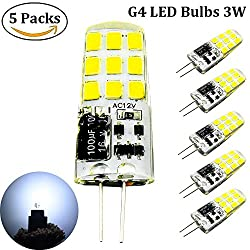 Bonlux G4 3w Led Bulbs 12v Cool White, G4 Bi Pin 12v 20w-25w G4 Halogen Bulbs Replacement, G4 Capsule Bulbs 6000k Daylight For Closet, Under Cabinet Lights, Ceiling Lights, Motorhome Caravan Automotive Marine Boats Yachts Lighting (5 Packs)