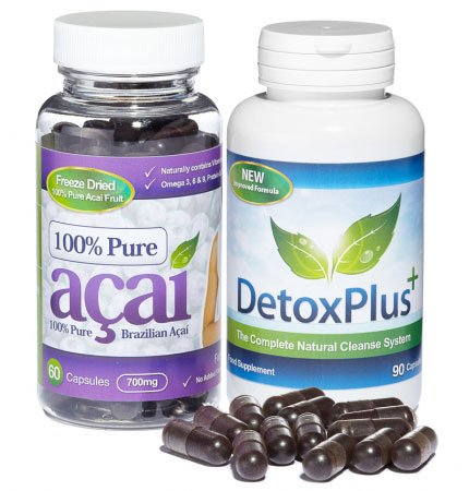 Original 100% Pure Acai Berry + Detox Plus Colon Cleanse 90 Kapseln - Top Qualität