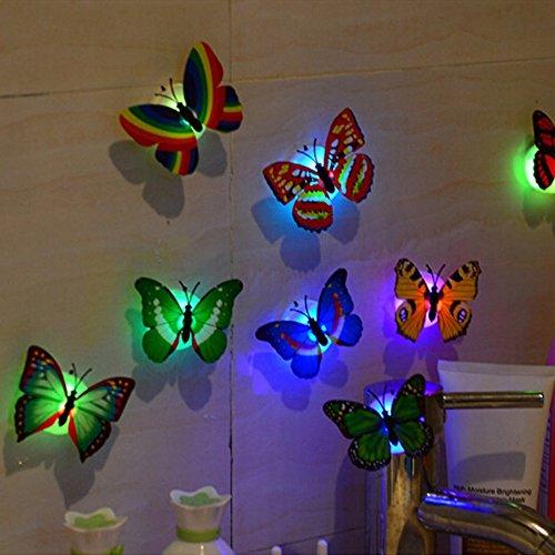 mxjeeio 1pcs Wandaufkleber, bunte wechselnde Schmetterling LED Nachtlicht Lampe Home Room Party Wall Decor
