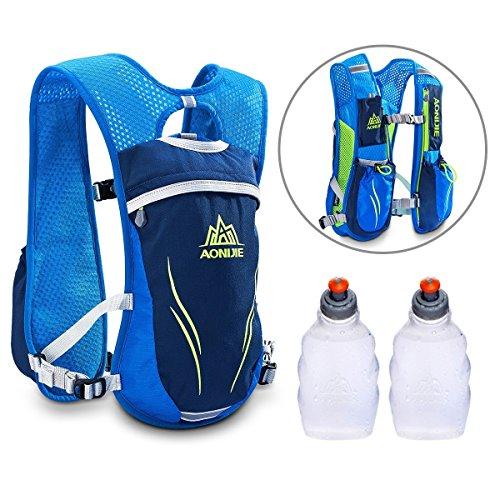 Imagen de aonijie  chaleco con sistema de hidratación para carreras, unisex, 5,5 l, incluye 2 botellas, azul