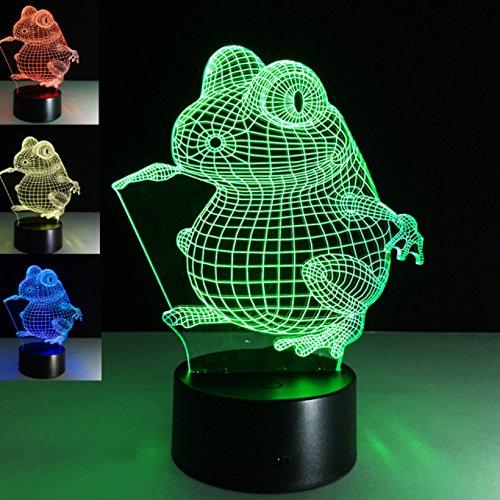 LED Nachtlicht Magical 3D tier frosch Visualisierung Amazing Optische Täuschung Touch Control Light 7 Farben ändern für Kinderzimmer Home Decoration Best Geschenk