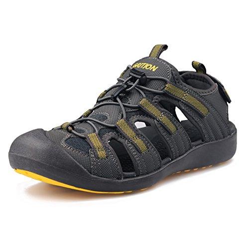 GRITION männer Outdoor - Sandalen größe Sport wandern Sandalen schnell trocken. Toecap Sommer Schuhe orange/schwarz. (43 EU, Gelb/Grau)
