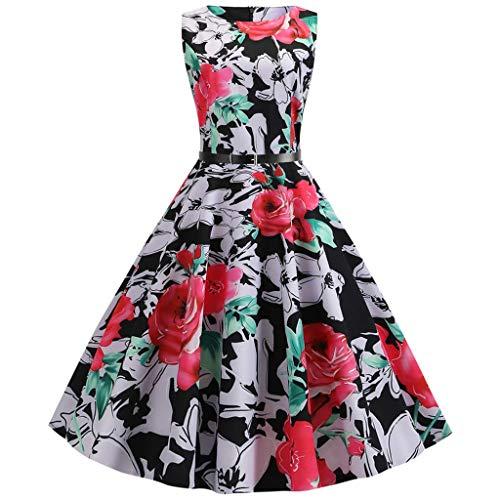 Auiyut Damen Kleid 50er Elegant Retro Vintage Kleid Partykleider Cocktailkleider Swing Rockabilly Hochzei Print Bodycon ärmelloses Prom Kleid Knielang Kleid mit Gürtel (Lady Oscar Kostüm)