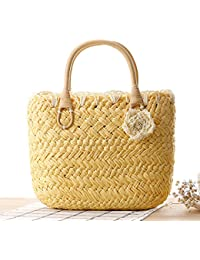 9bd2440f8f74 FAIRYSAN Lovely Small Straw Handbag Tote Exquisite Beach Woven Vintage Top  Handle Shopping Bags with Flowers