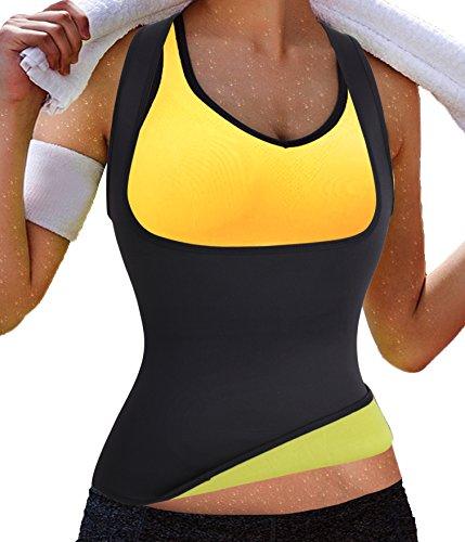 Gotoly Damen Corsage Korsett Bauchweg Training Taillenkorsett abnehmen Shirt Taillenformer Fitness (XX-Large, Schwarz)
