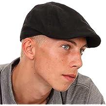 Para hombre/Boys negro Flat Cap con preformados Peak