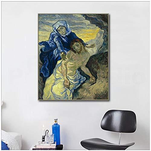 adgkitb canvas Pintura impresionista en Lienzo Mural de la Virgen María y Jesús de Van Gogh Fresco decoración de la Sala Pintura 60x90cm SIN Marco