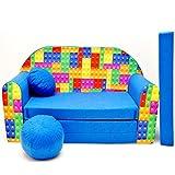C32 Minicouch Kindersofa Baby Sofa Set Sitzkissen Matratze (C32 blau Legosteine)