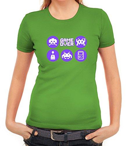 Gamer Damen T-Shirt mit Retro Game Icons Motiv von ShirtStreet Apfelgrün