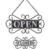 NIKKY HOME Metall Hängen Shop Zeichen Vintage Shop Dekoration Doppelseitiges Offen Geschlossen Schwarz & weiß mit Muster