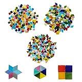 Carreaux de mosaïque (600 pièces) - Assortiment de 3 losanges 2 x 1,2 cm, triangle 1,5 cm, carré 1 cm - Mosaïque en verre pour loisirs créatifs et artistiques, décoration intérieure, cadres, tasses...