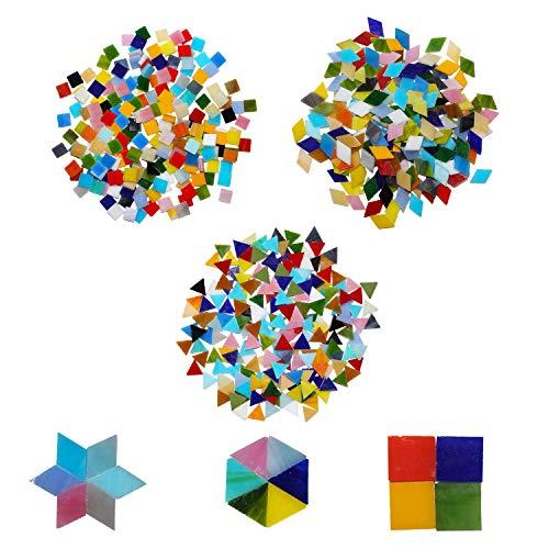 Mosaiksteine zum Basteln (600-teilig)-Gemischte Mosaiksteine in 3 verschiedenen Formen-Bruchmosaik- Bunter Bastelmix aus Glas, Homedeko, Wände, Möbel, Teller, Fotorahmen, Tassen, Blumentöpfe, Spiegel