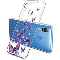 Oihxse Funda Conpatible con Samsung Galaxy J7 Prime 2017 Silicona Transparente Dibujos Mariposa Cover Suave TPU Gel Cristal Clear Delgada Anti- Arañazos Protección Carcasa Case,Púrpura