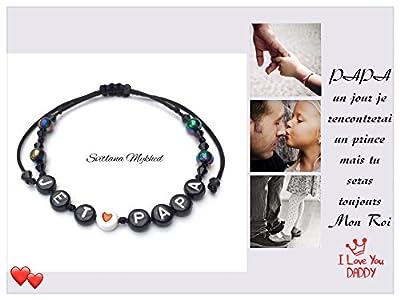 """Bracelet avec message """"JE T'AIME PAPA"""" (réversible, personnalisable) homme, femme, enfant, bébé , nouveau-né."""