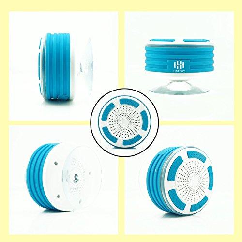 Hot Sky - Altoparlante Bluetooth - radio da doccia, completamente impermeabile IPX7, radio FM integrata e luci LED colorate per sport allaperto, casa, spiaggia, piscina, cucina, casa, iPhone, Android Blue & White