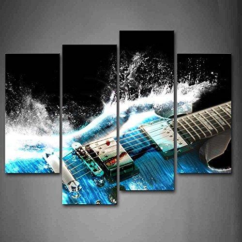 Gitarre Im Blau Und Wellen Sieht Schön Wandkunst Malerei Das Bild Druck Auf Leinwand Musik Kunstwerk Bilder Für Zuhause Büro Moderne Dekoration (Gitarre Bilder Für Kinder)