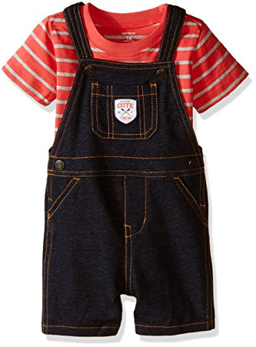 Carters's kurze Latzhose + T-Shirt Sommer Set Baby Junge Shorts Outfit boy (0-24 Monate) (18 Monate, rot/schwarz)
