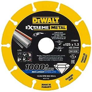 51kTE44tu%2BL. SS300  - DEWALT DT40252-QZ DT40252-QZ-Disco de corte con borde diamantado Extreme Metal 125x1.3x22.3 mm, Negro Y Amarillo