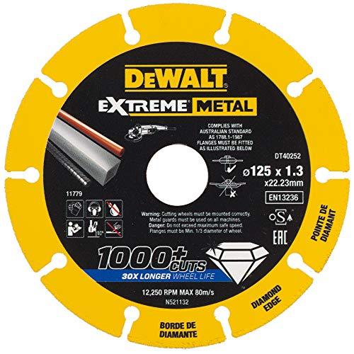 Dewalt Extreme Metall Diamant-Trennscheibe (125 mm Ø, 1.3 mm Dicke, für eine Vielzahl von Materialien wie Stahl, Aluminium und Nichtmetalle, für den Einsatz auf Winkelschleifern, 1 Stück) DT40252