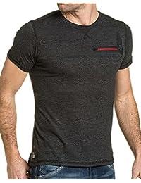 BLZ jeans - T shirt homme noir flocage et zip fantaisie