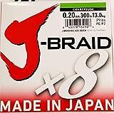 Daiwa J-Braid 8 Braid 0.20mm, 13.0kg / 29.0lbs, 300m chartreuse, lenza di pesca intrecciata rotonda