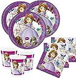 Lote de Cubiertos Infantiles 'Princesa Sofía Disney' (32 Vasos, 32 Platos, 40 Servilletas y 1 Piñata) .Vajillas y Complementos. Juguetes para Fiestas de Cumpleaños, Bodas, Bautizos y Comuniones.