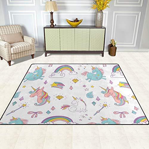 ISAOA Alfombra Moderna y Suave para niños, diseño de Unicornio, Alfombra para Dormitorio, Sala de Estar, habitación de niños, decoración Antideslizante y Lavable, 152 cm x 120 cm