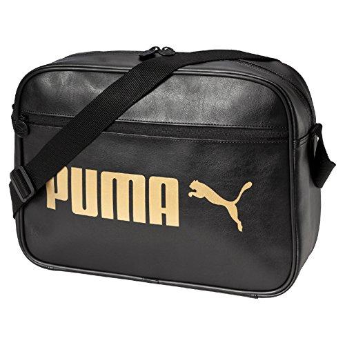 PUMA Umhängetasche Campus Reporter, Puma Black/Gold, 22.3 x 14.5 x 29 cm, 12 liter, 074158 01