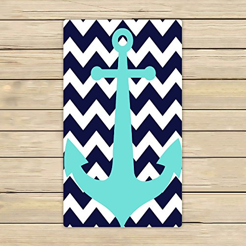 Nautical Bath (Cotton Bath Towels,Bathroom Body Shower Towel,Custom Navy Blue Chevron with Nautical Anchor Beach/Shower Towel Wrap For Home and Travel Use Size 16x28 inches)