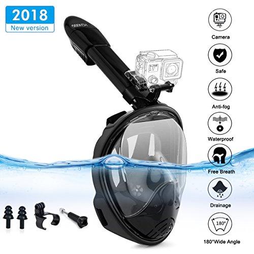 Maschera da Snorkeling Snorkel Mask 2018 Le più recenti maschere da sub con vista a 180 ° e supporto GoPro Easy Breathe Design Tecnologia anti-appannamento e anti-perdita con tappi per le orecchie per adulti (L / XL) ...