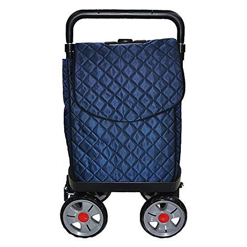 ZHAOHUI Einkaufstrolley Stahlrahmen Blau Oxford-Tuch Lagerrad Wasserdicht Verschleißfest, Laden Sie 10 Kg (Farbe : Blau)