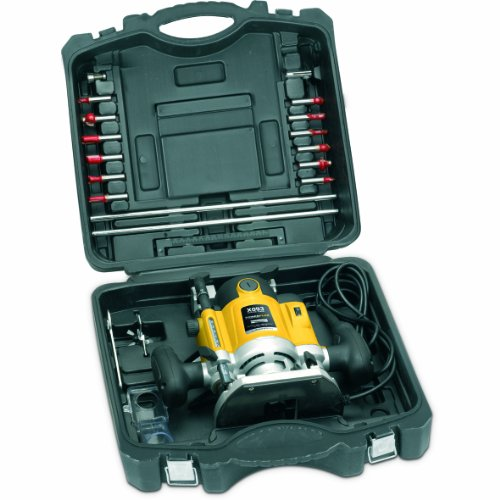 Powerplus 1500 Watt, 230v Variable Speed Router with Parallel Guide, Carry Case + 12 Piece Router Bit Set POWX093 - 3 Year Home User Warranty