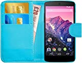 G-Shield Hülle für Google Nexus 5 Klapphülle mit Kartenfach und Magnetverschluß Kunstleder mit Displayschutzfolie und Stylus - Hellblau