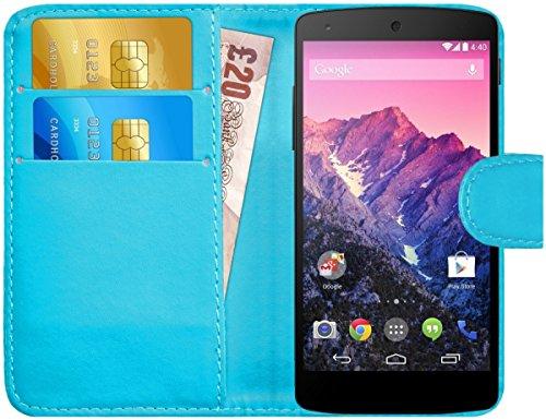 G-Shield Hülle für Google Nexus 5 Klapphülle mit Kartenfach - Hellblau