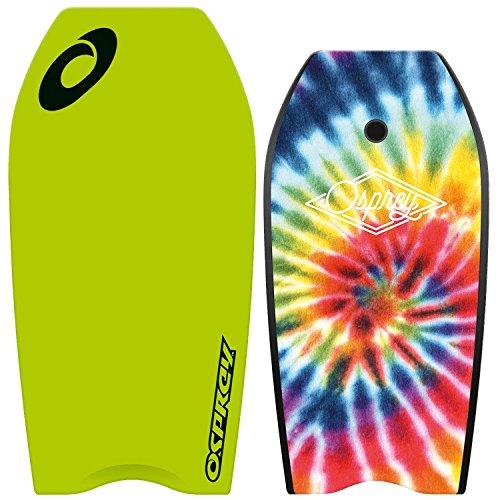 Osprey Kinder/Erwachsene Tie Dye Bodyboard mit Leine, XPE Board mit Crescent Tail–104,1cm, Unisex, XPE Tie Dye, grün