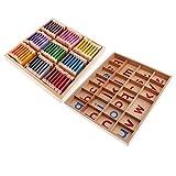 MagiDeal Montessori Caja de Alfabetos Móviles + Caja de Colores Juguetes Educativos de Madera para Niño